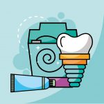 toothpaste floss and dental implant vector illustration
