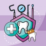 Smile clinic dentist dental care tooth crown tools protection vector illustration